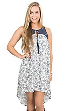 Flying Tomato Women's White with Navy Floral Print and Illusion Neckline Sleeveless Tent Dress