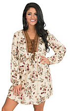 Flying Tomato Women's Cream Floral with Suede Neckline Cinched Long Sleeve Dress