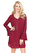 Flying Tomato Women's Berry with Crochet Detailing Long Bell Sleeve Dress