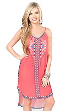 Flying Tomato Women's Coral with Aztec Taping Sleeveless Hi-Lo Dress