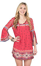 Flying Tomato Women's Rust Print with Long Bell Sleeves Dress