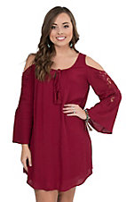 Flying Tomato Women's Burgundy with Crochet Detail Cold Shoulder Long Bell Sleeve Dress