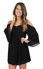 Flying Tomato Women's Black with Crochet Detailing Cold Shoulder 3/4 Bell Sleeve Dress