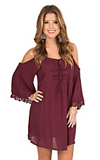 Flying Tomato Women's Maroon with Crochet Detailing Cold Shoulder 3/4 Bell Sleeve Dress