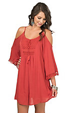 Flying Tomato Women's Rust with Crochet Detailing Cold Shoulder 3/4 Bell Sleeve Dress