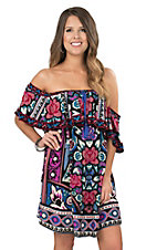 Flying Tomato Women's Black, Teal, and Purple Floral Print with Ruffled Top Off The Shoulder Short Sleeve Dress