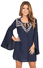 Flying Tomato Women's Navy with Cream Embroidery Long Bell Sleeve Shift Dress