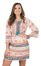 Flying Tomato Women's Cream Flower Print Lace Up Front with 3/4 Bell Sleeves A-Line Dress