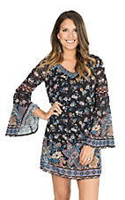 Flying Tomato Women's Black with Navy and Taupe Floral Print Long Bell Sleeve Tent Dress