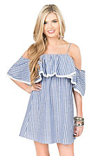 Flying Tomato Women's Blue with White Stripes Cold Shoulder Ruffle Sleeve Dress