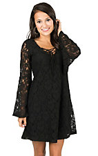 Flying Tomato Women's Black Lace with Lace Up V-Neck Long Bell Sleeve Dress