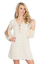 Flying Tomato Women's Ivory Lace with Lace-Up Tie Neckline Long Open Cinched Sleeve Dress