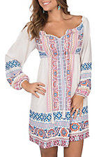 Flying Tomato Women's Ivory with Multi-Colored Paisley Print Off the Shoulder Long Sleeve Dress