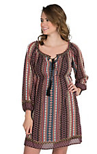 Flying Tomato Women's Exotic Multi Color Multi Print Long Cinch Sleeve Dress