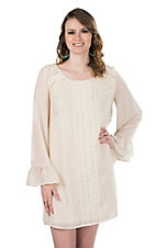 Flying Tomato Women's Ivory with Lace Details and Long Bell Sleeves Dress