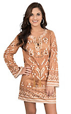 Flying Tomato Women's Camel Faux Suede with Cream Aztec Print Long Bell Sleeve Dress