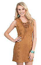 Flying Tomato Women's Camel Faux Suede with Cris Cross Lacing Sleeveless Body Con Dress