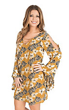 Flying Tomato Women's Mustard Floral Print with Lace up Front and Long Bell Sleeves Dress