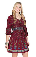 Flying Tomato Women's Burgundy Print with Elastic Waist and Lace Up Neckline Long Cinched Sleeve A-Line Dress