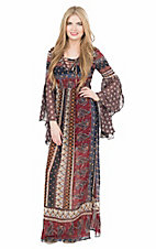 Flying Tomato Women's Burgundy Print with Lace Up Neckline Long Bell Sleeve Maxi Dress