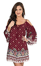 Flying Tomato Women's Burgundy Printed with Crochet Details and Tassel Tie Cold Shoulder Long Sleeve Dress