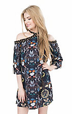 Flying Tomato Women's Navy Floral Print with Cold Shoulder 3/4 Sleeves Dress