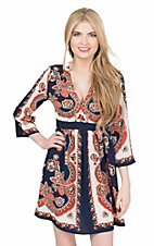 Flying Tomato Women's Navy, Orange, and Cream Floral Print 3/4 Bell Sleeve A-Line Dress