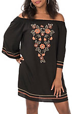 Flying Tomato Women's Black with Coral and Cream Floral Embroidery 3/4 Sleeve Dress