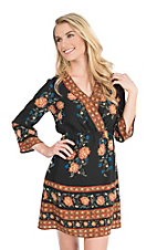 Flying Tomato Women's Black and Orange Floral Print Long Sleeve A-Line Dress