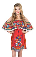Flying Tomato Women's Red FLoral Print Cold Shoulder Dress