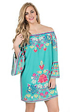Flying Tomato Women's Mint Floral Print Long Bell Sleeve Dress