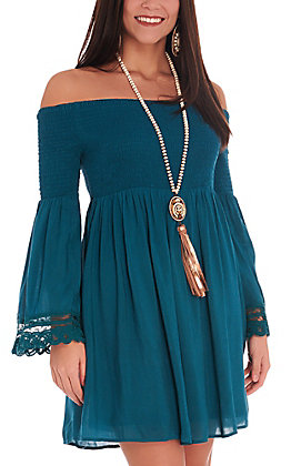 Rockin C Women's Peacock Teal Smocked Bell Sleeves Dress