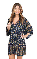 Flying Tomato Women's Navy Floral Print 1/2 Sleeve Dress