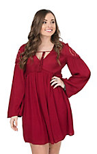 Flying Tomato Women's Wine with Crochet Embroidery Long Bell Sleeve Dress