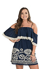 Flying Tomato Women's Navy with Cream Embroidery Crochet Cold Shoulder Dress