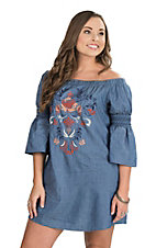 Flying Tomato Women's Denim Off the Shoulder 3/4 Bell Sleeve Dress