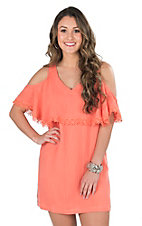 Flying Tomato Women's Coral Ruffle Cold Shoulder A-line Dress