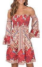 Flying Tomato Women's Taupe with Red Floral Print Smocked Strapless Long Bell Sleeves Dress