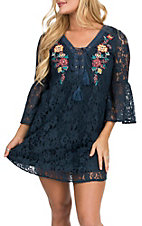 Flying Tomato Women's Navy Lace w/ Floral Embroidered Dress