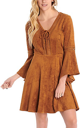 Rockin C Women's Camel Faux Suede Dress