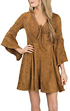 Flying Tomato Women's Camel Faux Suede Dress