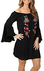 Flying Tomato Women's Black Off the Shoulder w/ Floral Embroidery Dress