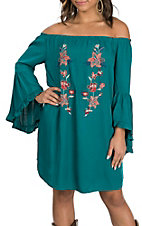 Flying Tomato Women's Teal Off the Shoulder w/ Floral Embroidery Dress