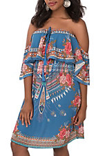 Flying Tomato Women's Blue Floral Print Off the Shoulder Dress