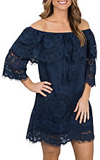 Flying Tomato Women's Navy Lace Off The Shoulder Dress