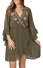 Flying Tomato Women's Olive Embroidered Floral Dress