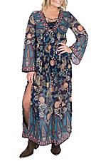 Flying Tomato Women's Blue Floral Print Maxi Dress