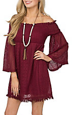 Flying Tomato Women's Burgundy Lace Off The Shoulder Dress