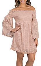 Flying Tomato Women's Rose Lace Off The Shoulder Dress