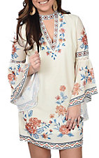 Flying Tomato Women's Ivory Floral Print Keyhole Dress